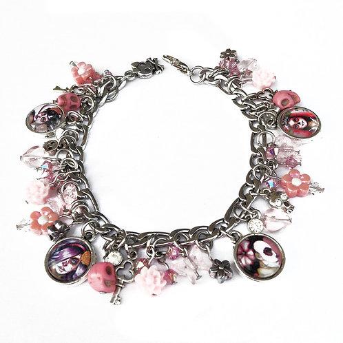 Calavera/Catrina Charm Bracelet-Pink