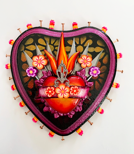 Small Burgundy Sacred Heart with Xacto Blades