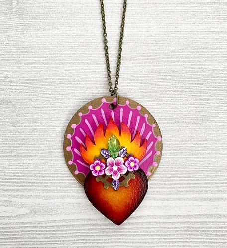 Light Violet Sacred Heart Pendant Necklace
