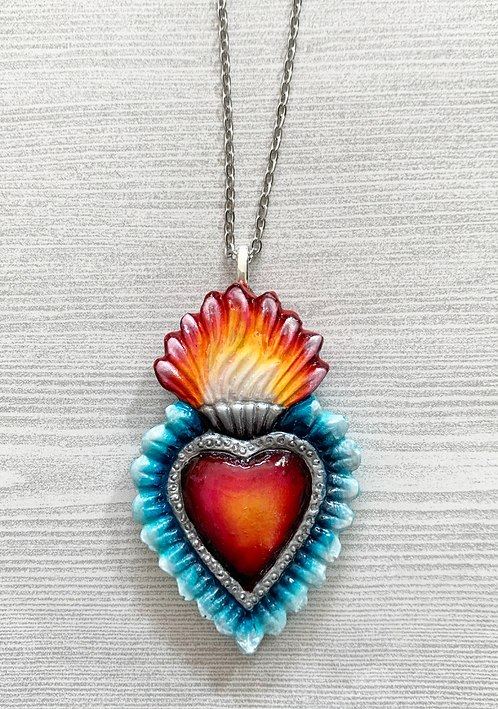 Blue Sacred Heart Pendant Necklace