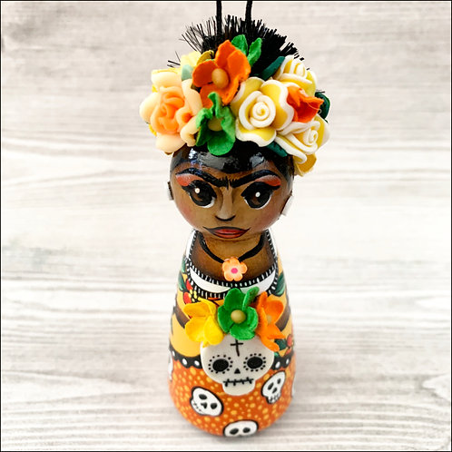 Dia de los Muertos Frida in Orange/Yellow Dress Art Ornament