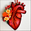 Thumbnail: Anatomical Heart And Orange Flowers Ornament