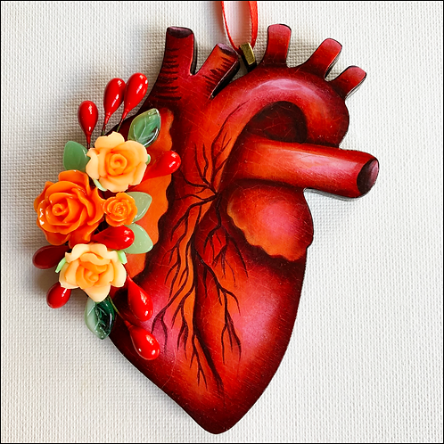 Anatomical Heart And Orange Flowers Ornament