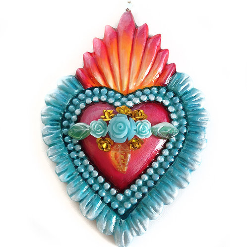 Red And Blue Sacred Heart Ornament
