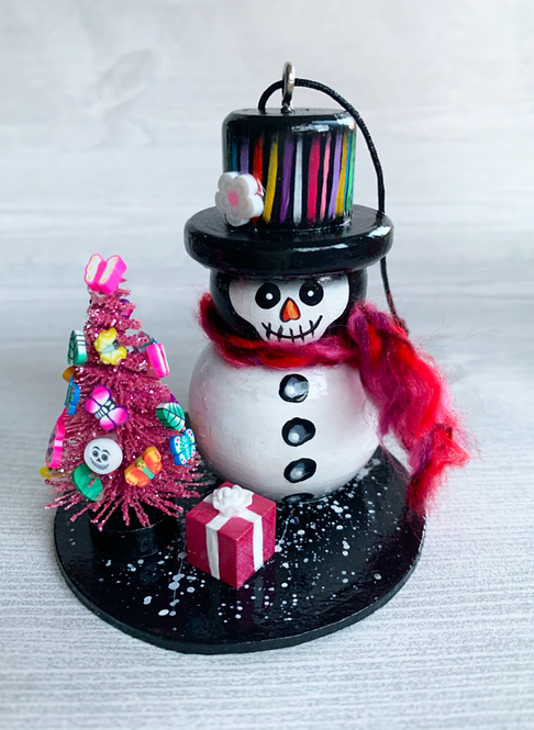 Skeleton Snowman with Pink ChristmasTree Art Ornament