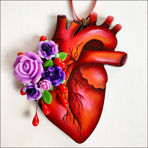 Anatomical Heart And Purple Flowers Ornament