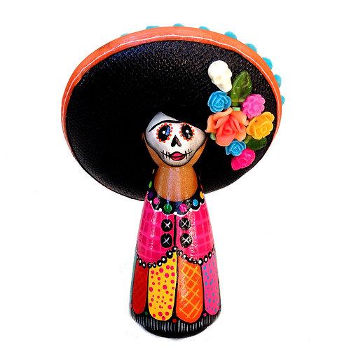 Day of the Dead Orange Sombrero Ornament