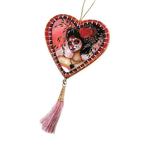 La Novia De La Muerte Heart Ornament