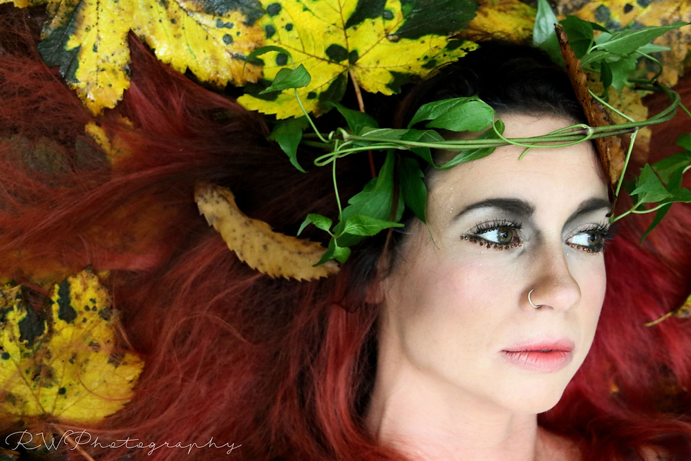 Photo shoot in Tehidy Woods with Kelly Jeffiries, model and Francesca Bennetts, makeup. We worked on getting a Pre Raphaelite feel with an autumn theme