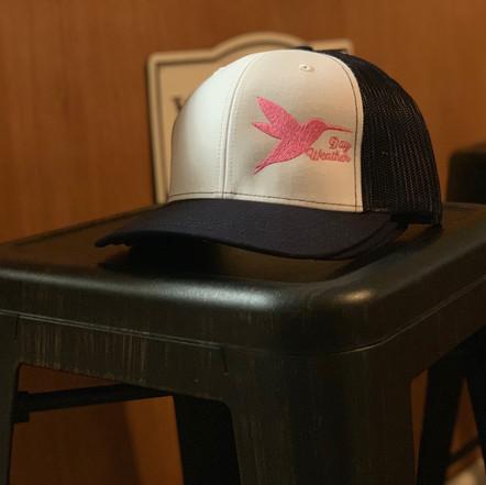 Navy hat with pink hummingbird