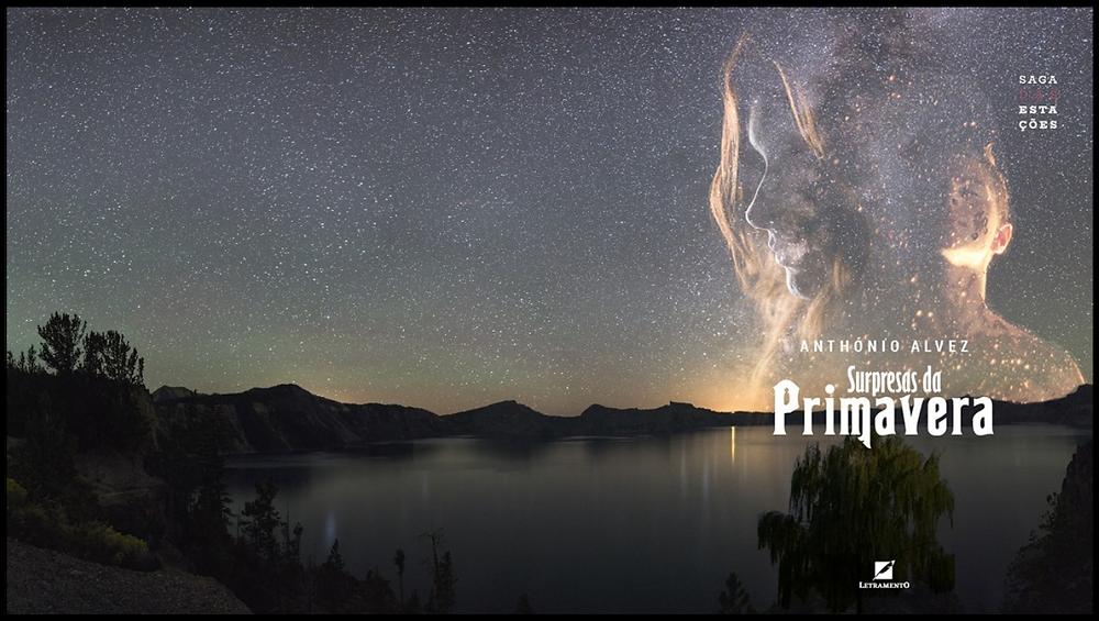 Capa do livro Supresas da Primavera de Anthónio Alvez, ilustrado com um lindo lago e o céu recheado de estrelas