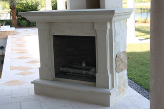 OUT DOOR LIMESTONE FIREPLACE