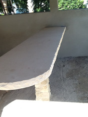 LIMESTONE BENCH WITH CHISELED EDGE