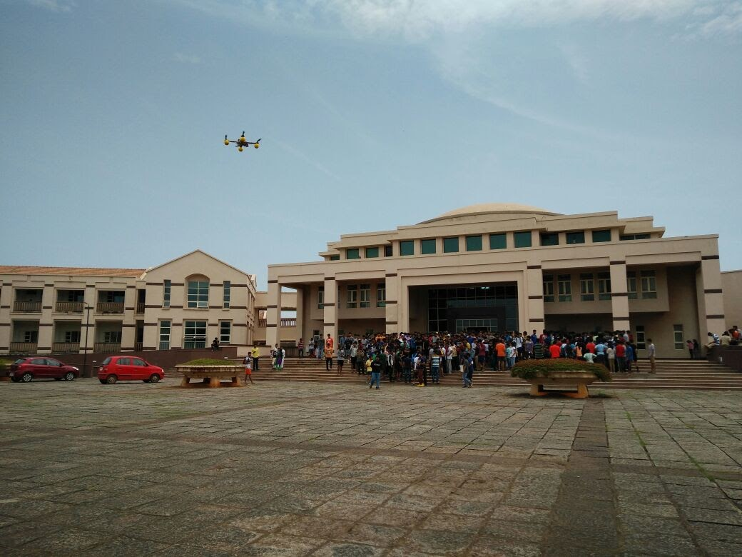 Drone group photography at BITS Pilani, Goa main building