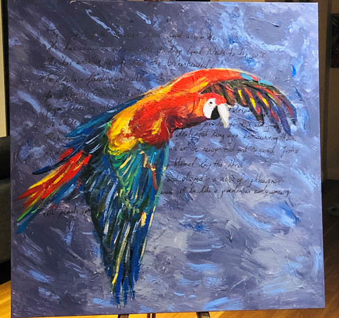 Bird of paradise on easel