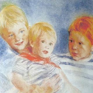 "The Offer Family Children Watercolour 17x22"""