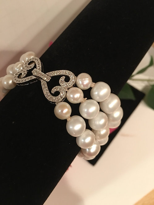 CZ Crystal Clasp with 3 strings of Freshwater Pearls
