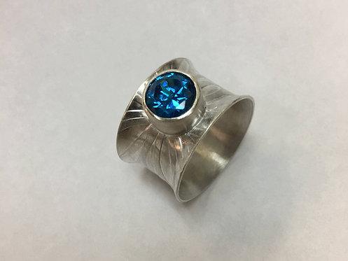 Light Blue 8mm Swarovski Crystal Ring