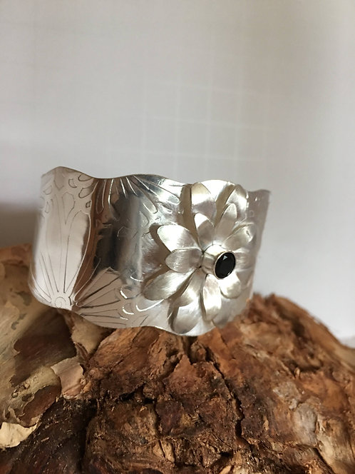 Cuff, Sterling Silver, Three Dimensional Daisy Bracelet
