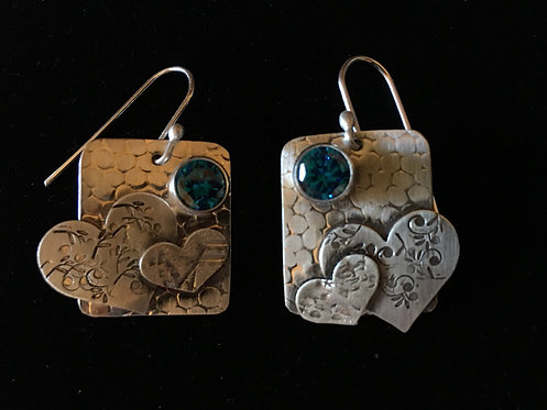 Dangle Sterling Silver Heart Earrings