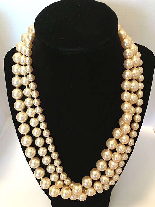 Pearl, Multi Strand Swarovski Cream Necklace
