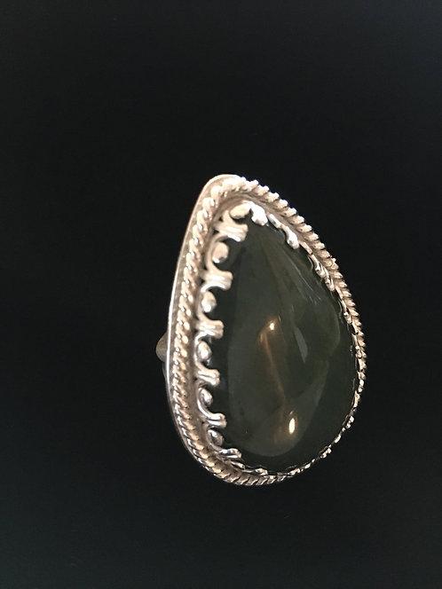 Jade Sterling Silver Statement Ring