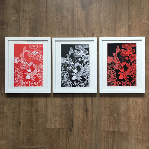 Set of 3 Japanese koi linocut prints