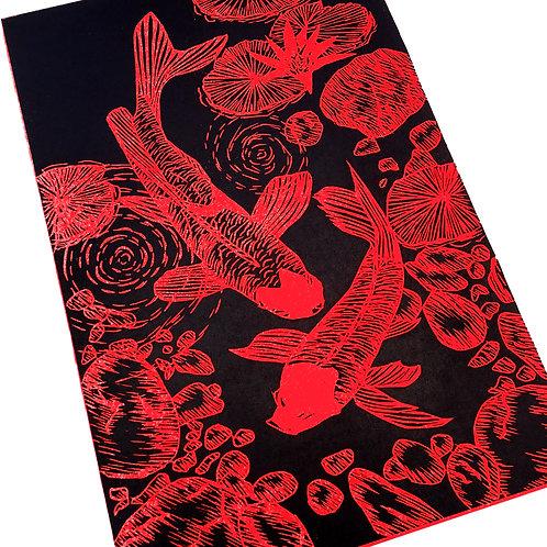 Japanese linocut print original koi fish wall art in red and black handmade in uk