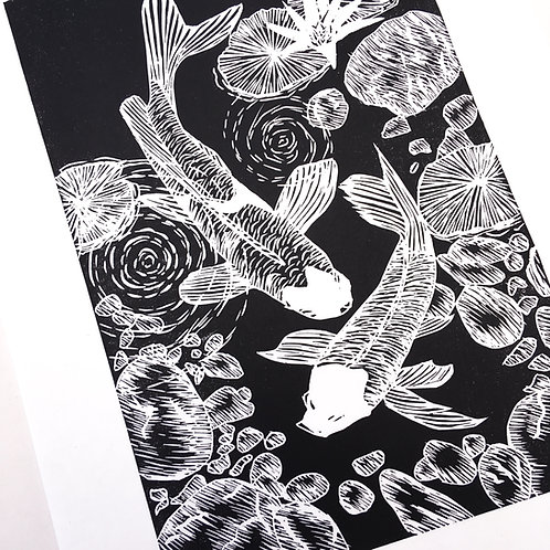 Japanese Koi lino print oriental wall art and unique zen artwork for sale in black and white