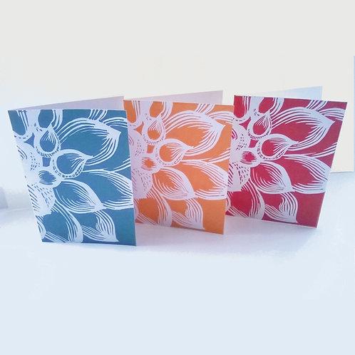 Dahlia flower linocut cards set of 3