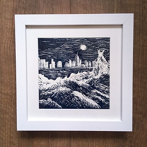 hong kong linocut print black and white unique art for sale. Architectural style original artwork in a traditional chinese printing style. Hand pulled and inspired by the ocean this relief wall art is also available in blue an black and made in the uk.