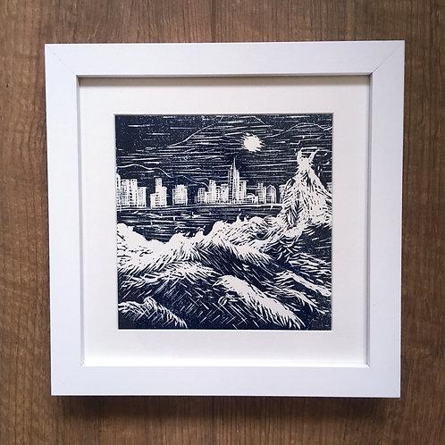 Hong Kong linocut art black and white chinese lino print original artwork for sale