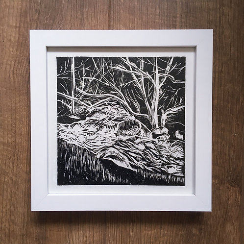 Lake District landscape linocut print original framed wall art for sale and inspired by nature