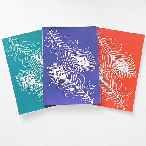 Peacock feather linocut cards (set of 3)