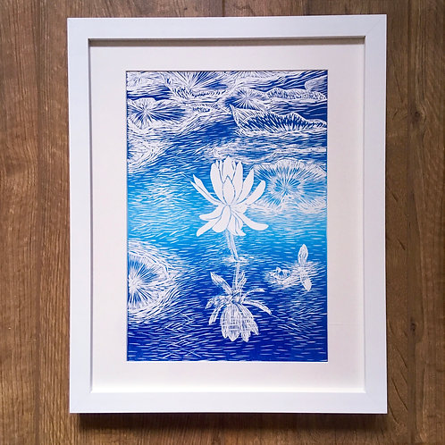 framed Water lily lake linocut print unique wedding gift and original art for sale