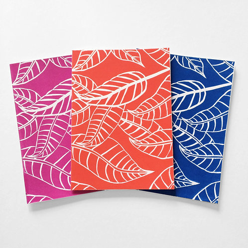 Fallen leaves linocut cards (set of 3)