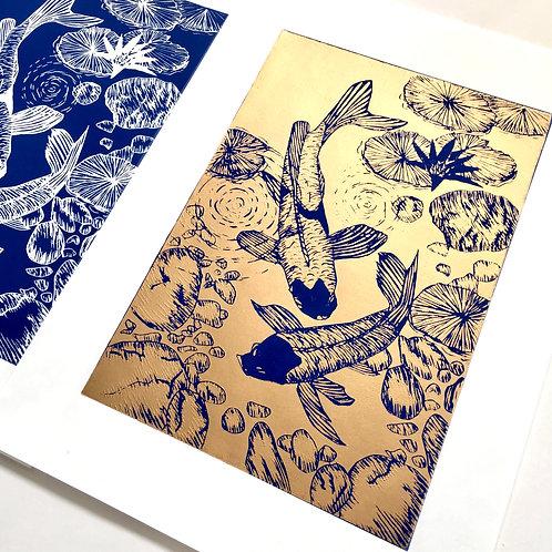 Metallic gold Japanese Koi linocut print