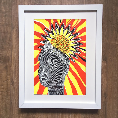 framed Benin bronzes lino print west African ethnic artwork inspired by British museum ancient sculptures