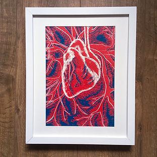 heart linocut framed art www.magnolialil