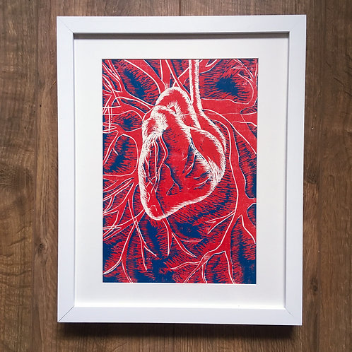 framed anatomical heart linocut print limited edition A3 original art for sale and unique gift