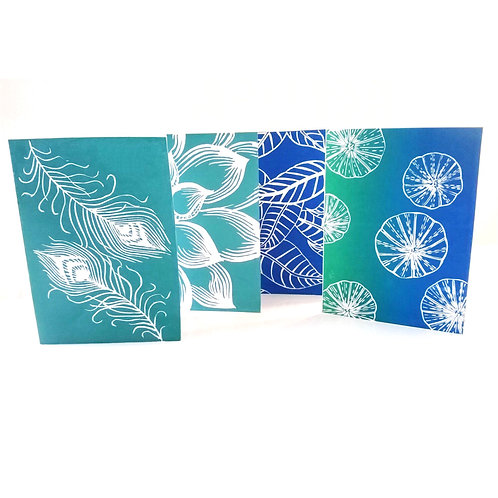 Green and blue ocean and nature lino print greeting cards set handmade for sale uk