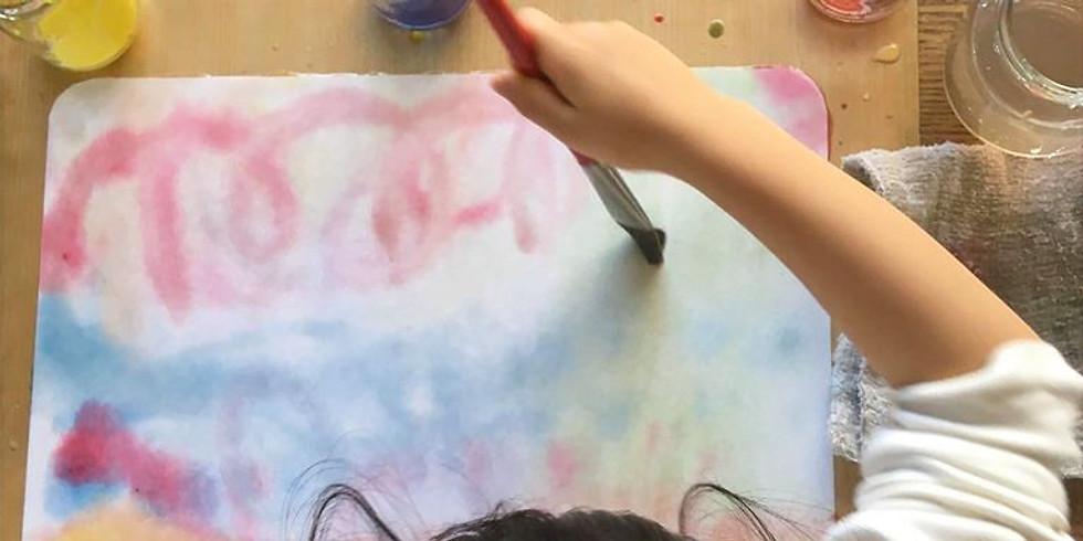 土曜教室・親子体験会(にじみ絵と鯉のぼり作り)
