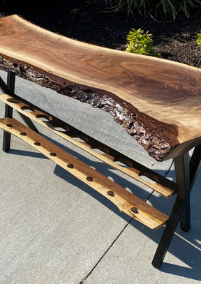 Live edge black walnut wine table - For Sale