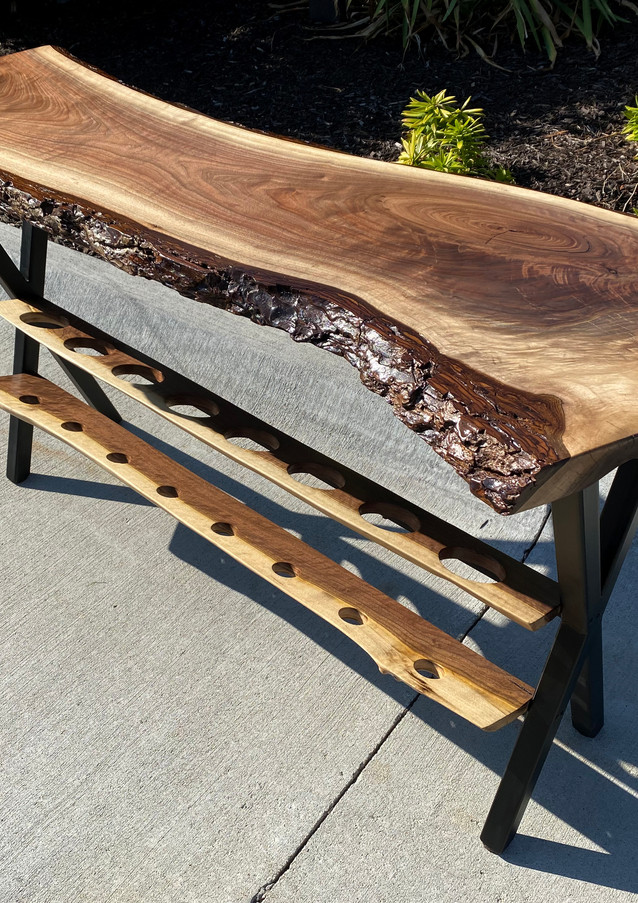 Live edge black walnut wine table - For Sale
