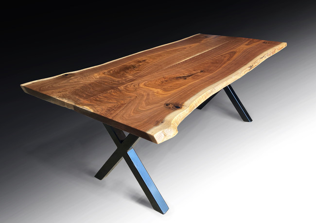 Live edge 7ft black walnut dining table - For Sale