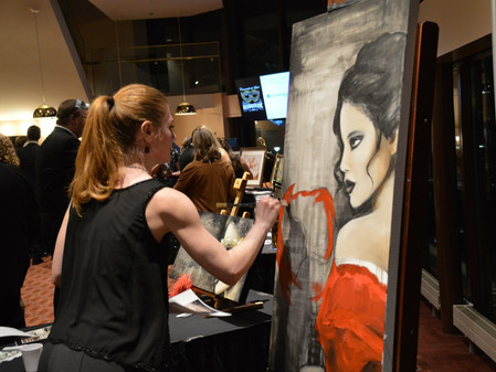 Live painting at the Lied Center's Masquerade Ball