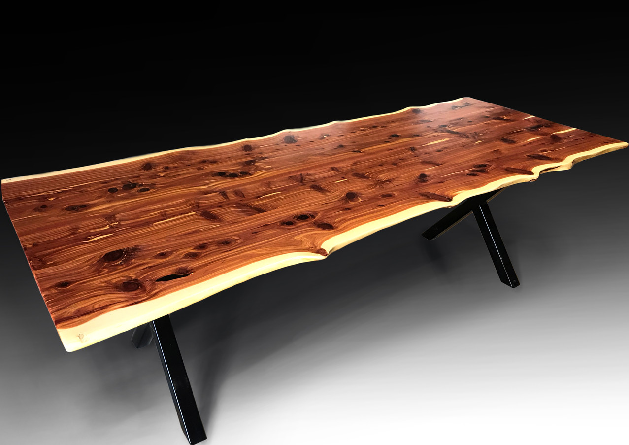 Live edge cedar dining table - For Sale