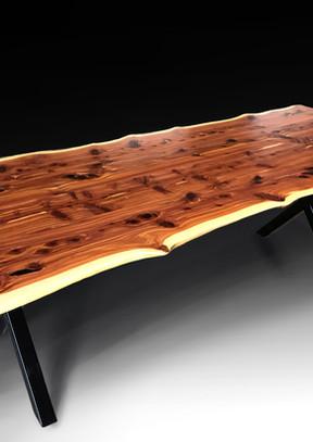Live edge cedar dining table - For Sale