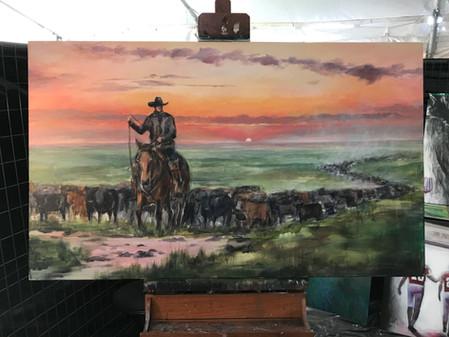 Live Painting at 2018 Cattlemen's Ball of NE