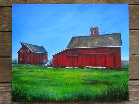 """Process of commissioned """"Barn"""" painting"""